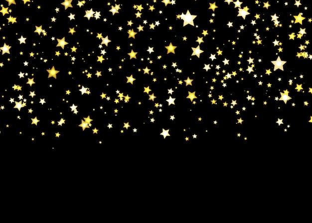 ゴールドの星 。紙吹雪パターンを照らします。