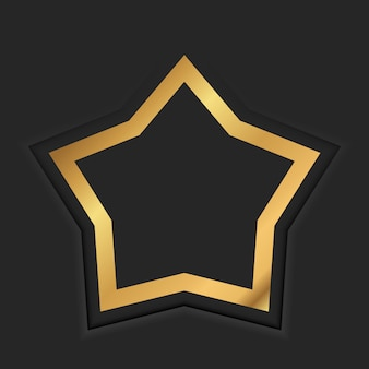 Gold star vintage frame with shadow on black background. golden luxury border