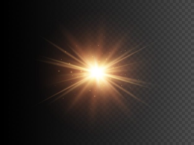 Gold star with sparkles. vector transparent glow light effect