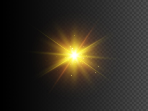 Gold star with sparkles. vector transparent glow light effect.