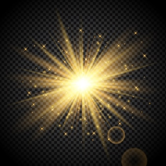 Gold starburst on transparent background