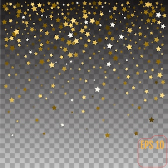 Gold stars holiday background, falling golden shining star on transparent background.