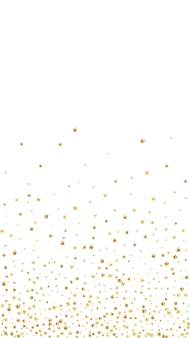 Gold stars luxury sparkling confetti. scattered small gold particles on white background. excellent festive overlay template. lovely vector background.