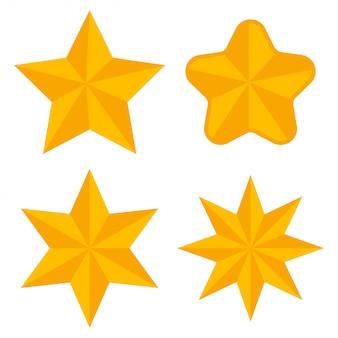 さまざまな形の金の星ベクトルフラットアイコンセット分離