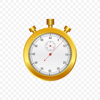 Gold stop watch. old mechanical stopwatch.  illustration.