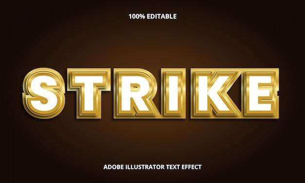 Текст gold strike, редактируемый эффект шрифта