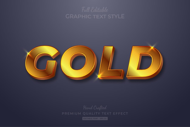 Gold strip glow editable text effect font style