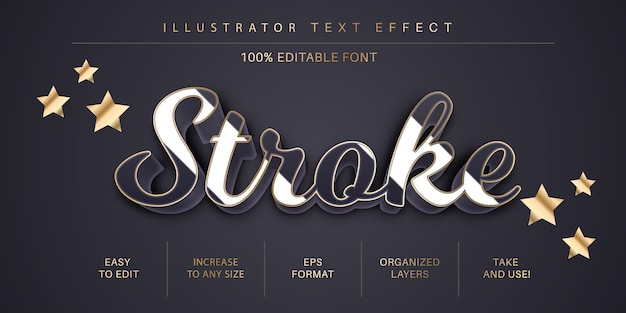 Gold stroke text effect, font style