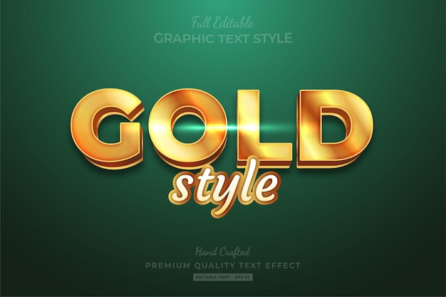 Gold style shine editable premium text effect font style