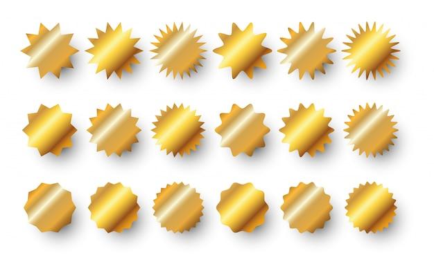 Gold sunburst badges set. golden sale sticker or burst rays price tag collection.