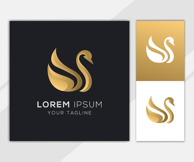 Gold swan abstract logo set template