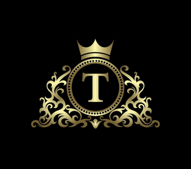 Gold t letter on circle background with ornamental icons