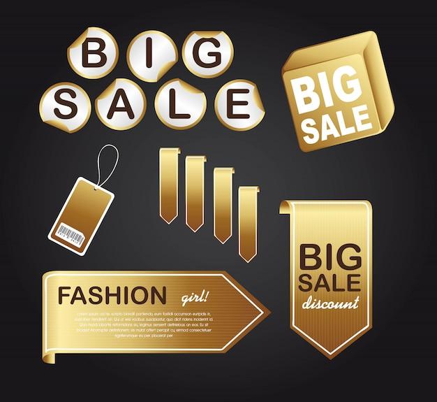 Gold tags over black background vector illustration
