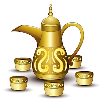 Gold teapot cartoon with some cup