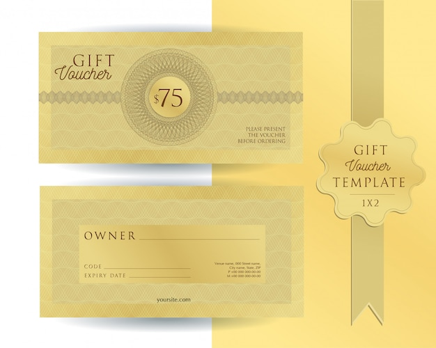 Gold template gift voucher with guilloche watermarks. double-sided coupon with fields to fill.
