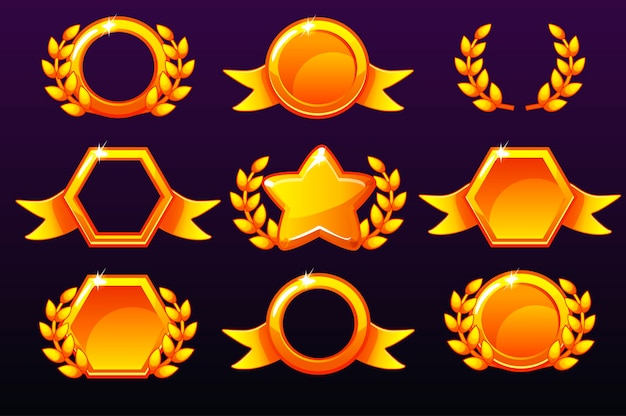 상을위한 골드 템플릿, 모바일 게임용 아이콘 생성.