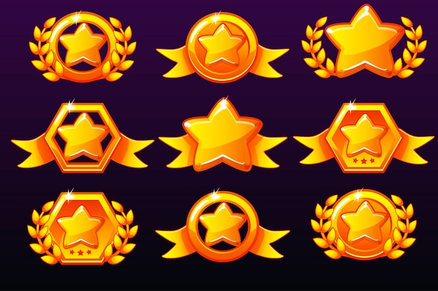 Gold templates star icons for awards, creating icons for mobile games.