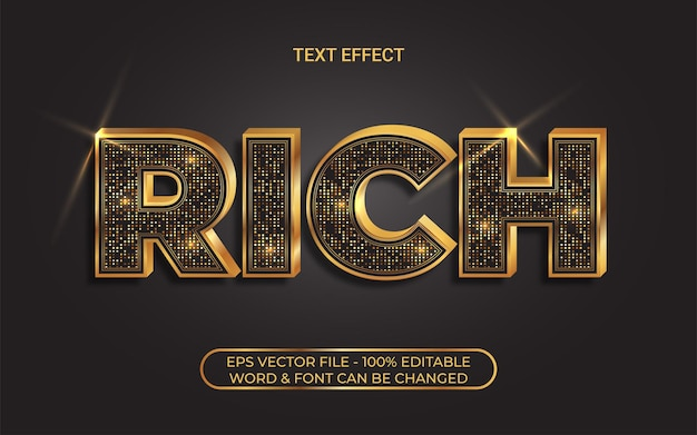 キラキラとゴールドのテキスト効果編集可能なテキスト効果