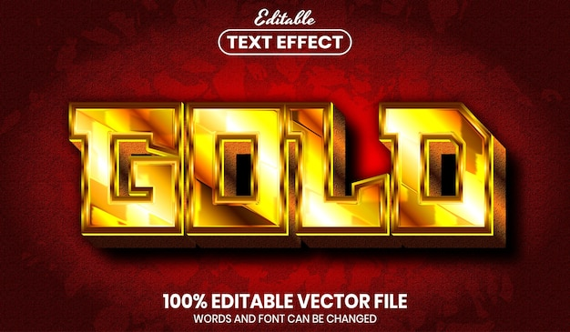 Gold text, font style editable text effect