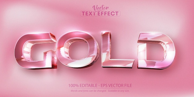 Gold text, grainy and shiny rose gold color style editable text effect Premium Vector