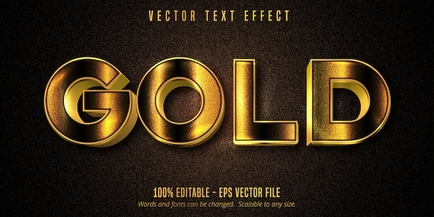 Gold text, shiny golden style editable text effect