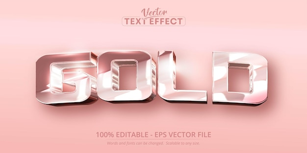Gold text, shiny rose gold color style editable text effect