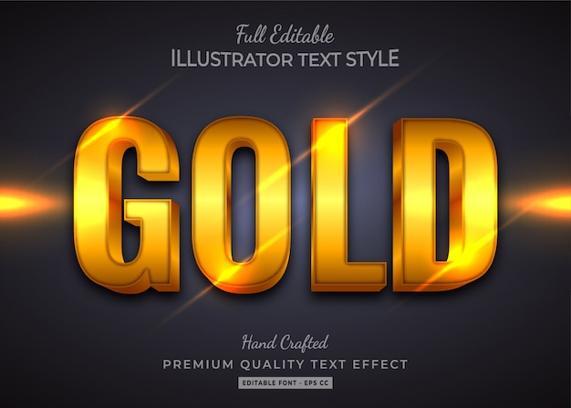 Gold  text style effect premium