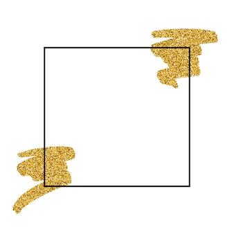 ゴールドテクスチャペイントステインフレームイラスト。手描きのブラシストロークベクトルデザイン要素。あなたのテキスト、販売、バナー、カード、ラベルの輝く抽象的な黄金の背景