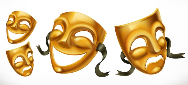 Gold theatrical masks. comedy and tragedy 3d  icon