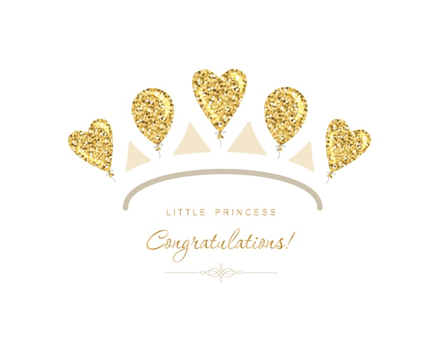 Gold tiara icon made of glitter balloons.