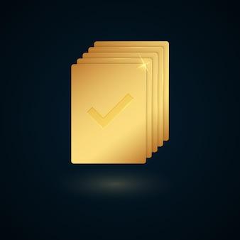 Золотой список задач или проектов, изолированные на темном фоне