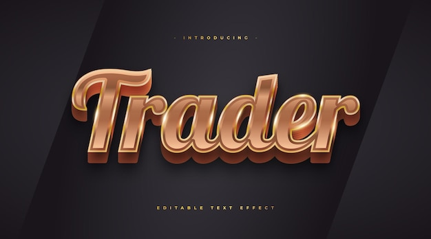 Gold trader text style with 3d effect. editable text style effect