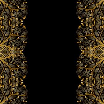 Gold tree border isolated on black background