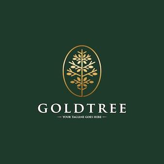 Шаблон логотипа искусство линии золотое дерево
