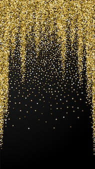 Gold triangles glitter luxury sparkling confetti. scattered small gold particles on black background. eminent festive overlay template. precious vector background.