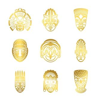 Gold tribal mask icons, ethnic masks vector isolated on white