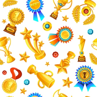 Gold trophies seamless pattern