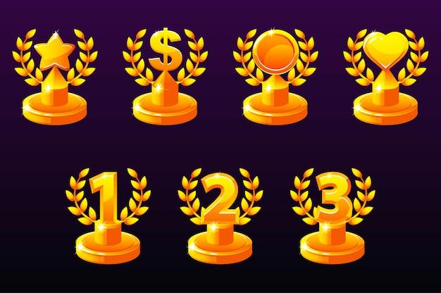 ゲームアプリで設定された金のトロフィー