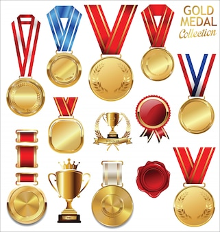 ゴールドトロフィーとメダル