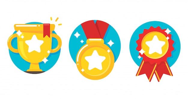 金のトロフィーとメダル