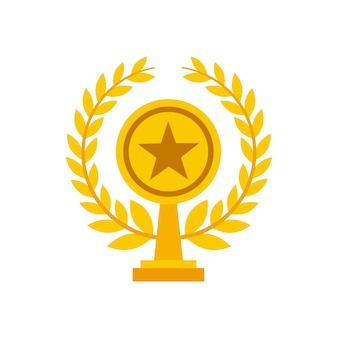Gold trophy in star shape icon