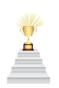 Gold trophy over ladders isolated