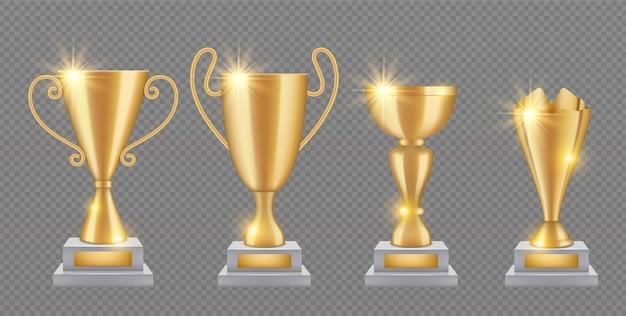 Золотой трофей. реалистичная коллекция кубков золотой награды. блеск трофеи изолированы. иллюстрация золотой награды и реалистичного трофея
