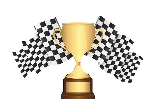 Gold trophy with checkered flags isolated