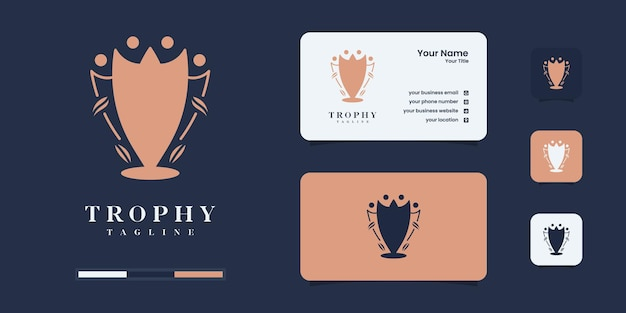Gold trophy with flat logo design template. logo for of the winner of the competition.