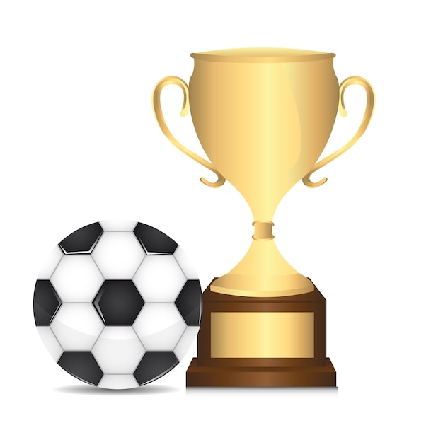 Gold trophy with soccer ball isolated