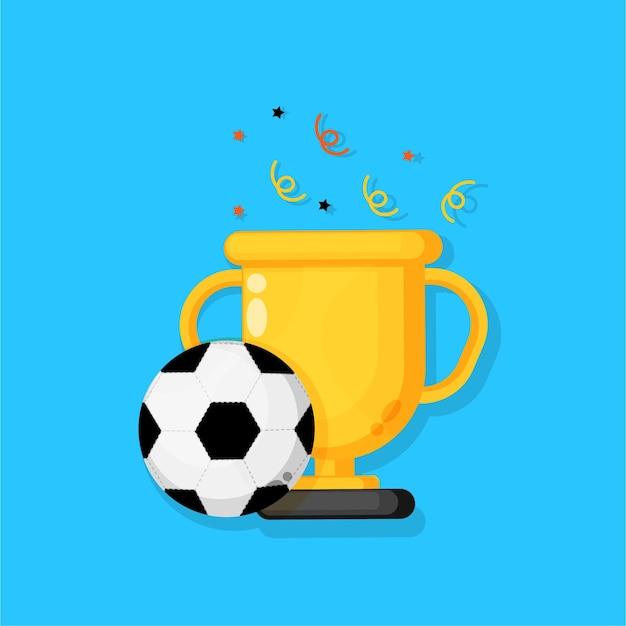 サッカーボールと金のトロフィー。スポーツトーナメントアイコン賞