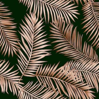 Золотые тропические пальмовые листья бесшовные модели. экзотический тропический летний цветочный фон для текстиля, ткани, обоев. роскошный графический дизайн джунглей. векторная иллюстрация