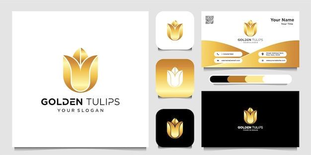 Gold tulip simple logo and business card premium vector