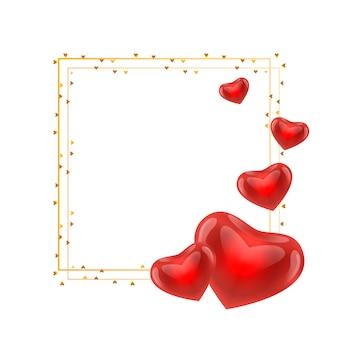 Gold valentine day frame